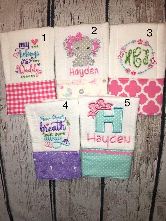 Baby girl Embroidered burp cloth.
