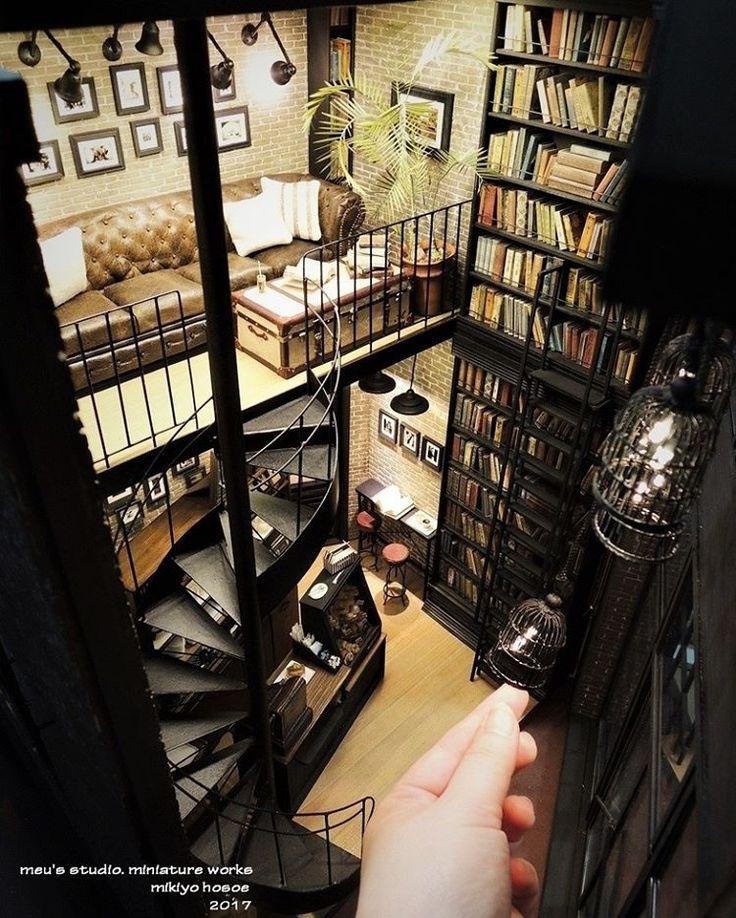"393 Likes, 16 Comments - meru's studio. (@mikiyo_hosoe) on Instagram: ""・ BookCafe 上から見下ろした状態。 一番好きな角度かも。 ・ 本も沢山 並べました。 螺旋階段と同じぐらい作りたかった本棚にかけるハシゴ。…"""