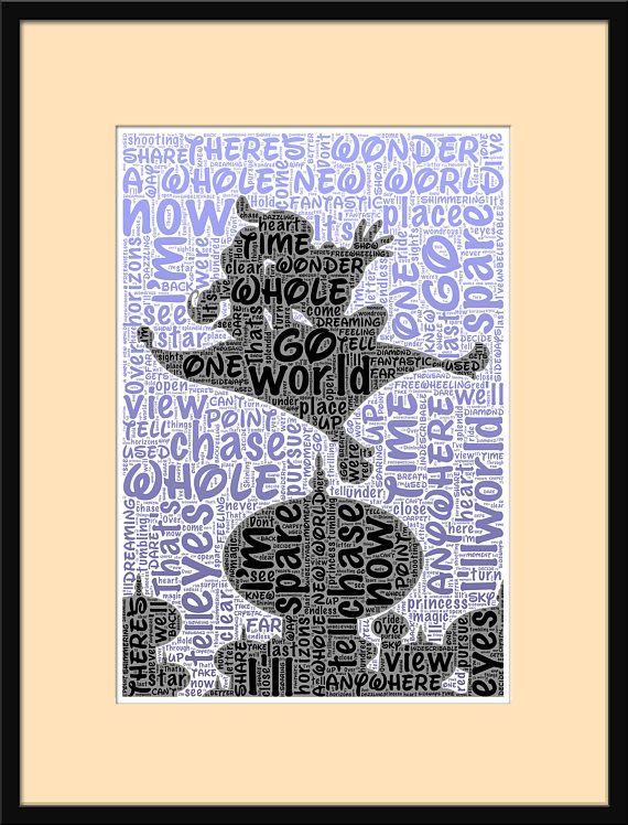 Disney, Aladdin, A Whole New World, Song Lyrics, Print, Etsy, Personalised, Nursery, Wall Art, Print, Room, Decor