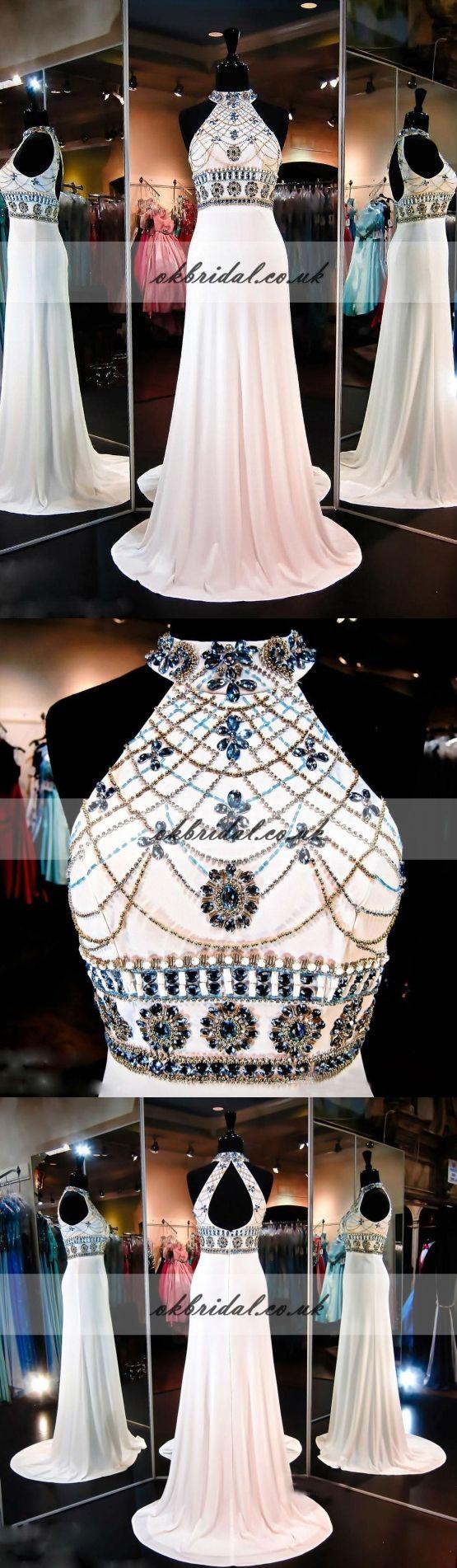 Open-Back Sleeveless Prom Dress, Beaded Sexy Sequin Prom Dress, Mermaid Chiffon Prom Dress, KX194
