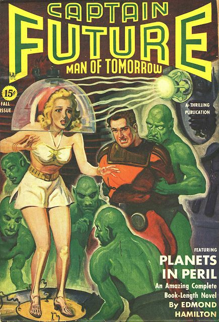 Planets in Peril, by Edmond Hamilton.  My favorite Captain Future story by the late, great Edmond Hamilton.