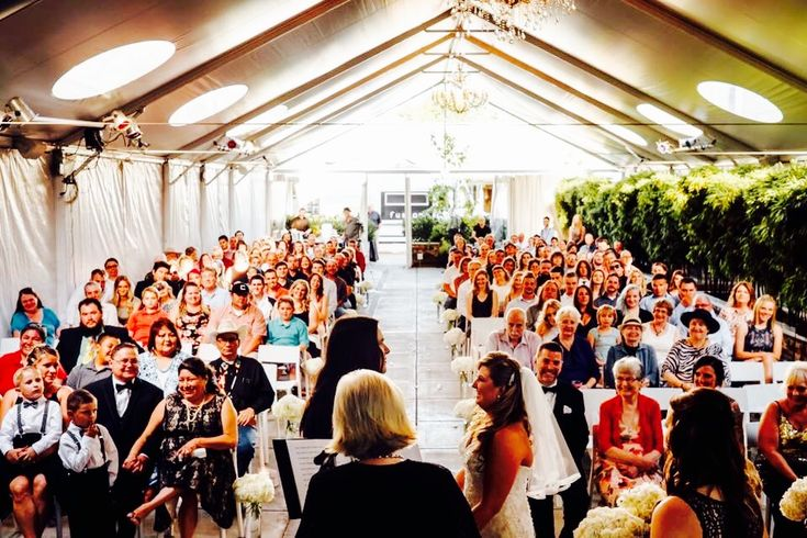 Love this perspective of Taylor and Justin's wedding at The Jupiter Hotel. Ceremony officiated by Heart Rock Ceremonies.