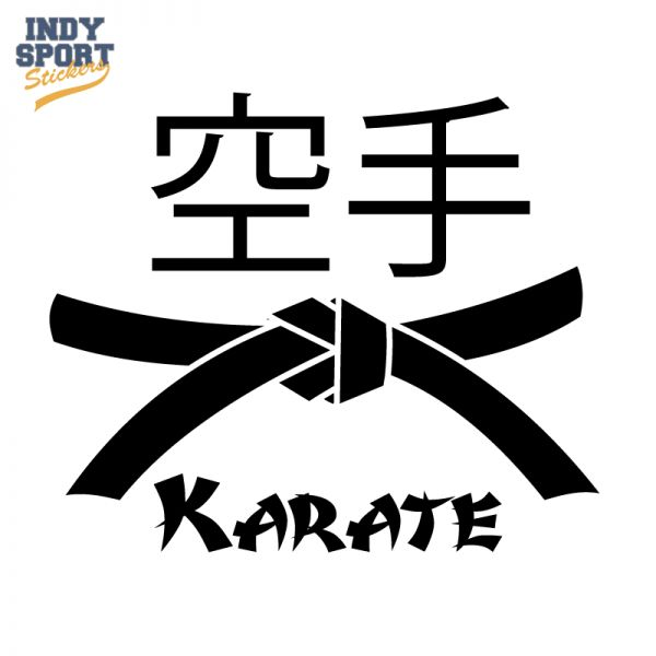 Karate kanji text with belt decal or sticker for your car window laptop or