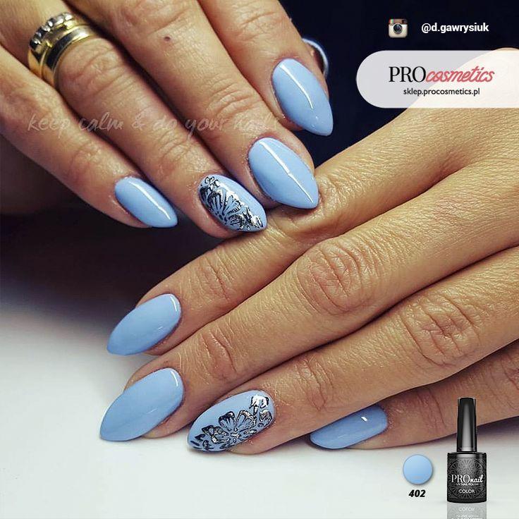 Błękitne paznokcie - niebieskie paznokcie - pastelowe paznokcie - PROnail 402
