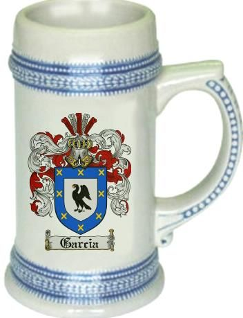Garcia Coat of Arms / Family Crest stein mug |  $21.99 at www.4crests.com - This stein starts with the family coat of arms hand drawn digitally. We then use a high quality 22 oz. ceramic stein to apply the coat of arms to via sublimation.