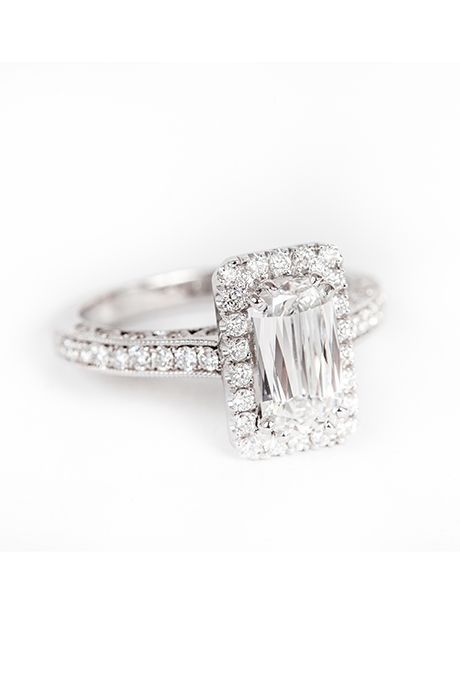 "Brides.com: . ""Wolfe"" emerald-cut halo engagement ring, price upon request, Rock for Her"