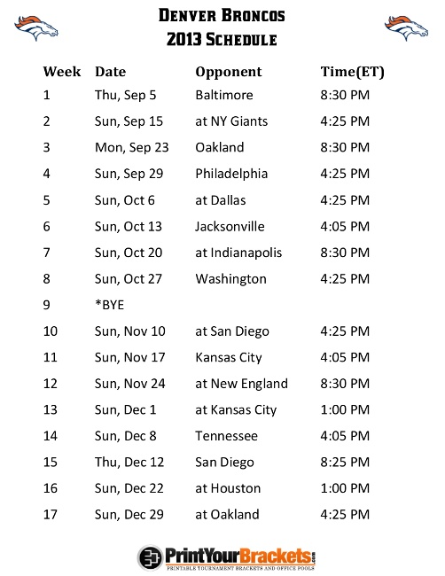 denver broncos images 2013 | Printable Denver Broncos Schedule - 2013 Football Season