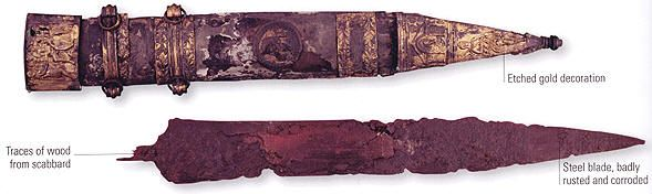 A gladius and scabbard, which belonged to an officer of Tiberius (42Bc—AD37)