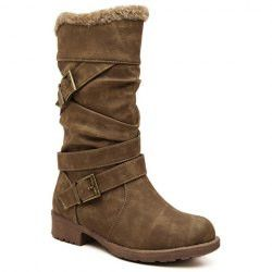 Trendy Low Heel and Double Buckle Design Women's Mid-Calf Boots