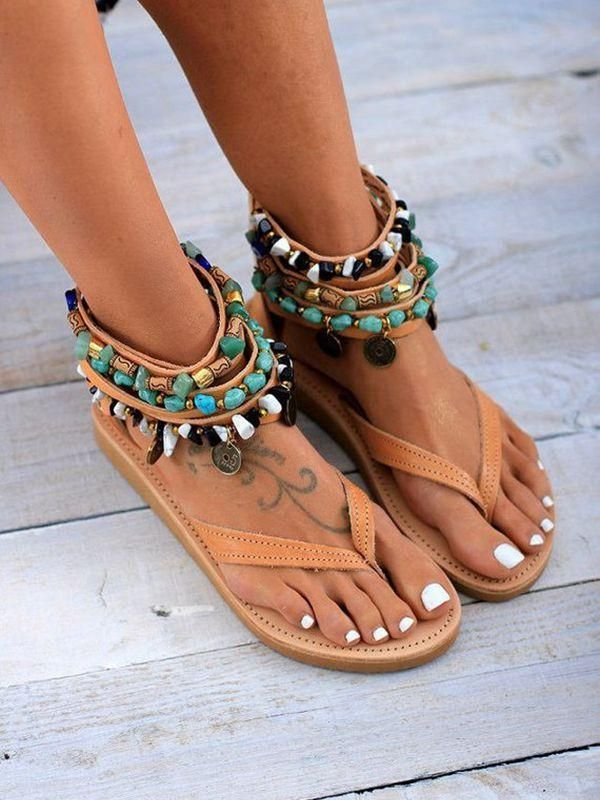 4efe58d87e103 Roman Wind Toe Beaded Hollow Flat Sandals Women in 2019   Shoes   Boho  sandals, Shoes, Leather sandals