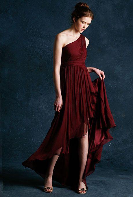 "Brides: Jenny Yoo. One-Shoulder Bridesmaid Dress: Jenny Yoo                                                                                                                                                                                                                                                                                                                                                                                                                        ""Shiloh"" criss-cross…"