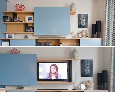 Vous avez besoin de votre télé mais vous trouvez qu'elle n'est pas en accord avec la déco de votre salon. Voici plusieurs façons de l'intégrer à votre intérieur en fonction de vos souhaits déco.