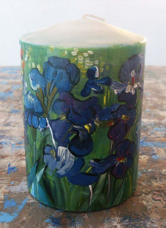Candle  IRISES by allabouthandicraft on Etsy