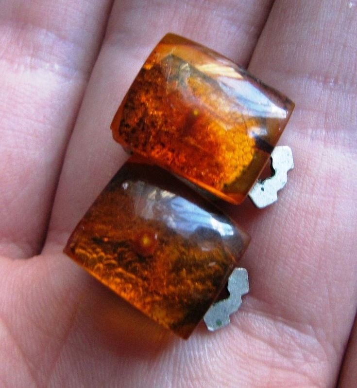 Natural Baltic Amber Earrings Clips Honey cognac 老琥珀 gemstone USSR Jewelry #Handmade