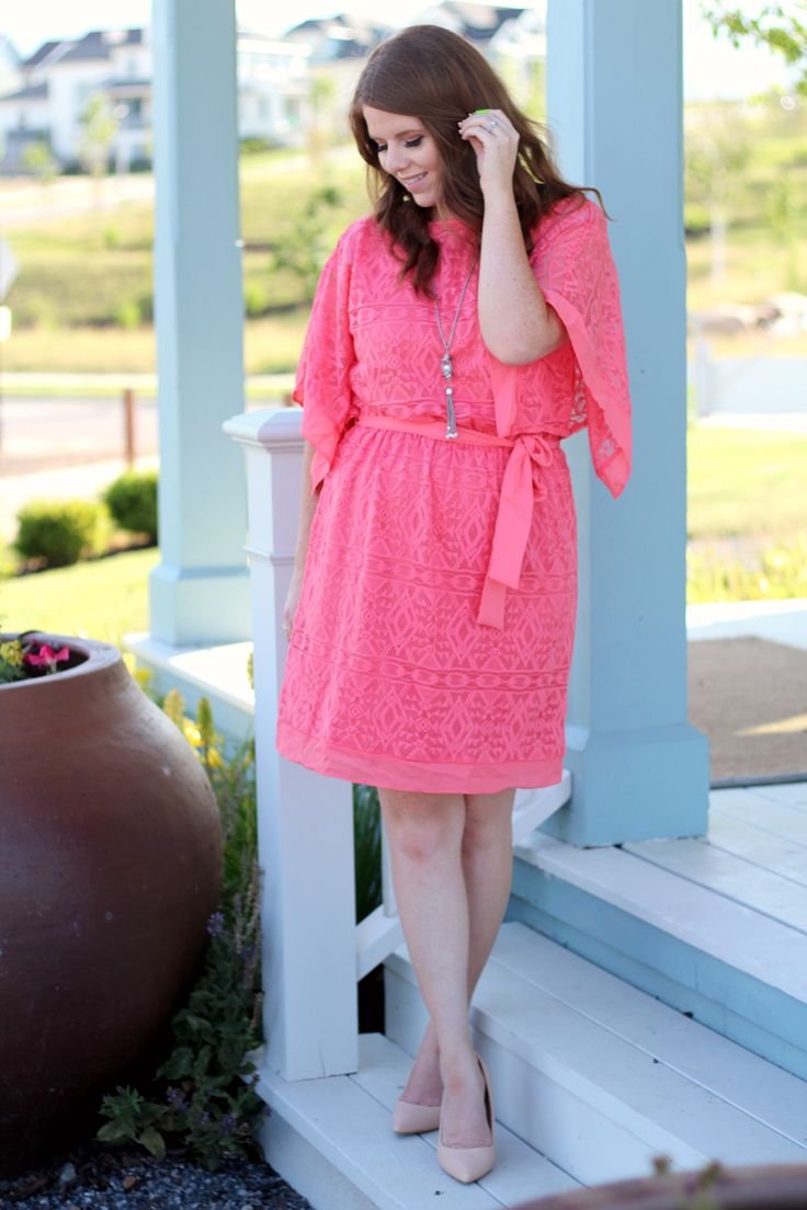 Modest summer dress-Nightchayde. Coral dress, budget style, dress outfit idea.
