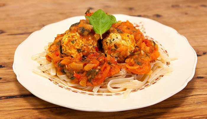 Chicken Meatballs with Gluten-Free Pasta and Healthy Tomato Sauce - Good Chef Bad Chef