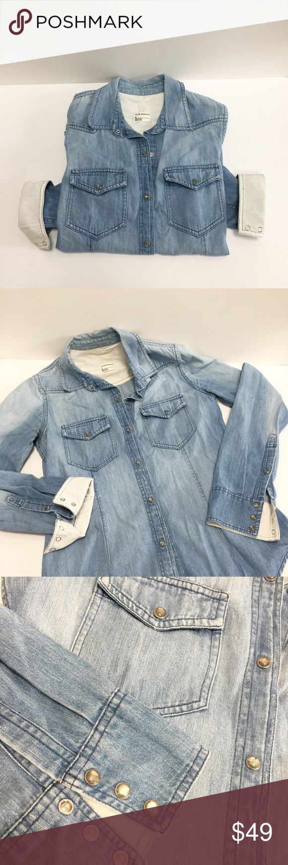 Club Monaco Light Denim Shirt Size S Light Denim shirt with snap closure. 2 small front pockets in the front, linen lined cuffs and snap closure all over. Fitted and fits true to size. Tops Button Down Shirts