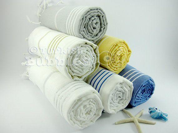 FREE Shipment Set of 6 Cotton Turkish Towels Beach Towels Bridesmaid Gift Shower Turkish Towel Fouta Peshtemal Pareo Sarong Hammam Spa Towel