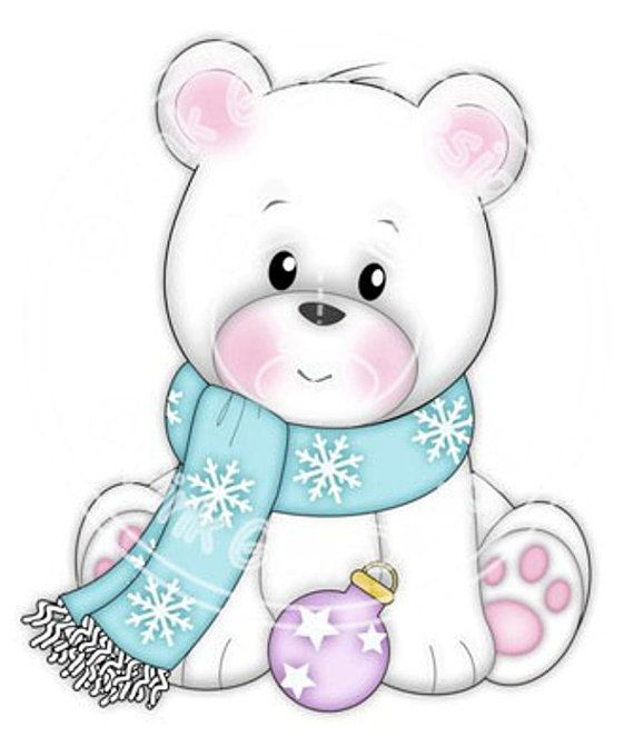 Digi Stamp Polo in Scarf. Makes Cute Papercraft and Digital Scrapbooking Projects. Christmas Cards. Baby Polo Bear