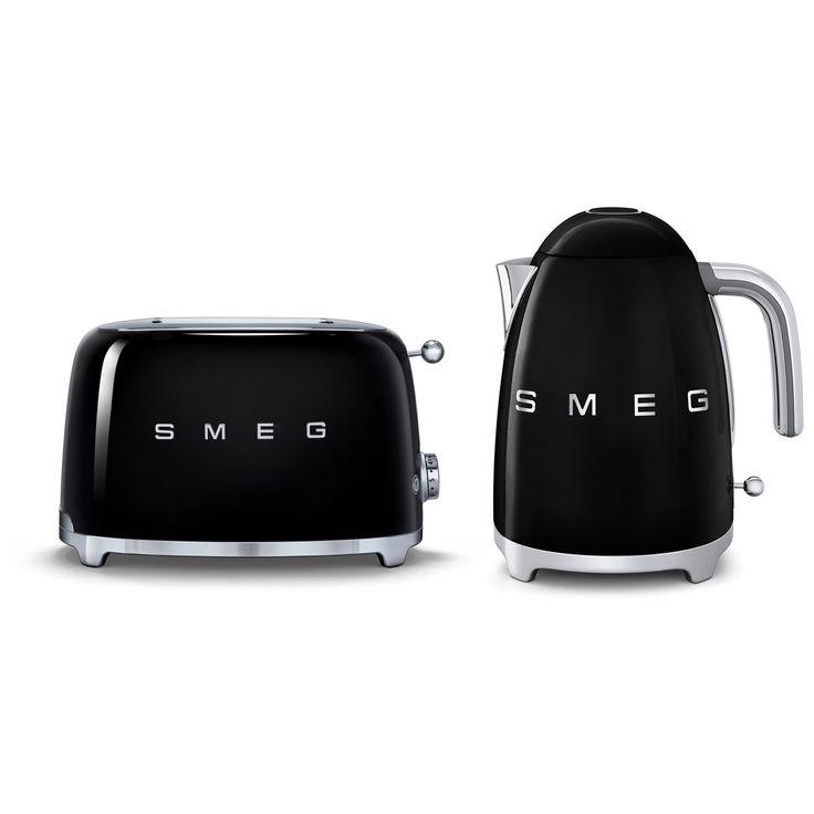 Smeg Kettle & Toaster Set, Black