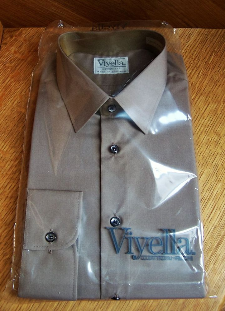 Viyella Shirt, 16.5, 42cm, Cotton Polyester, Brown, Made in England