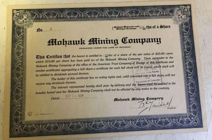 Mohawk Mining  Company Stock Certificate #5 Mohawk-Wolverine-Michigan Exchange