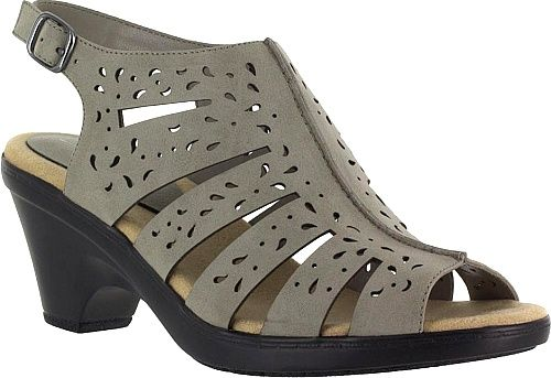 Easy Street Shoes - Comfortable and chic this statement slingback sandal easily transitions from day activities to night festivities. Synthetic upper with intricate laser cut-outs. - #easystreetshoes #grayshoes
