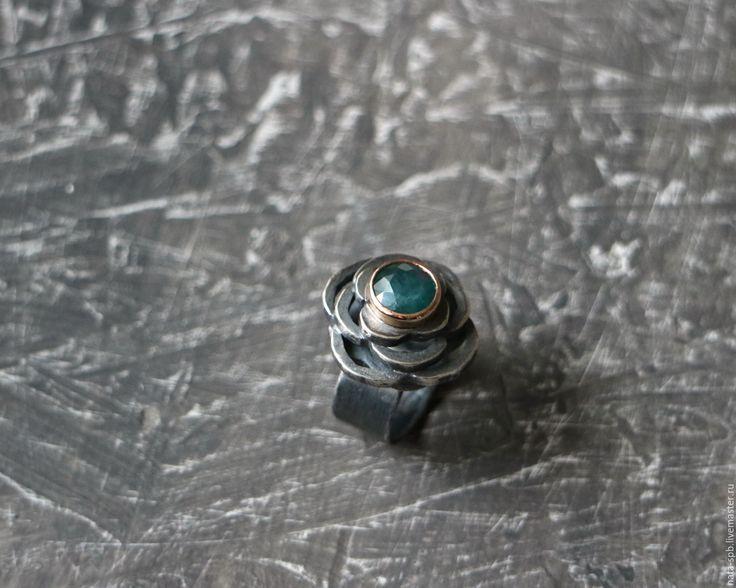 Купить BYZANTIO кольцо (грандидьерит, серебро, золото) - морская волна, кольцо с голубым камнем