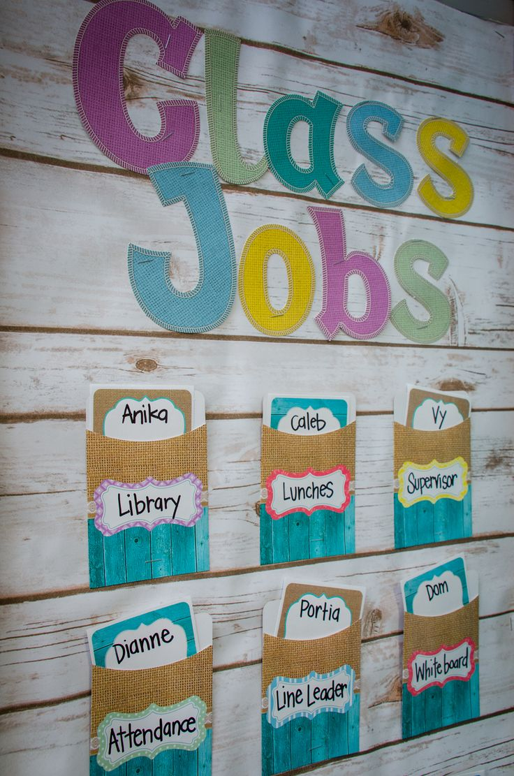 Create this easy Class Jobs Board using Shabby Chic Sassy Letters, Library Pockets, and Name Tags.