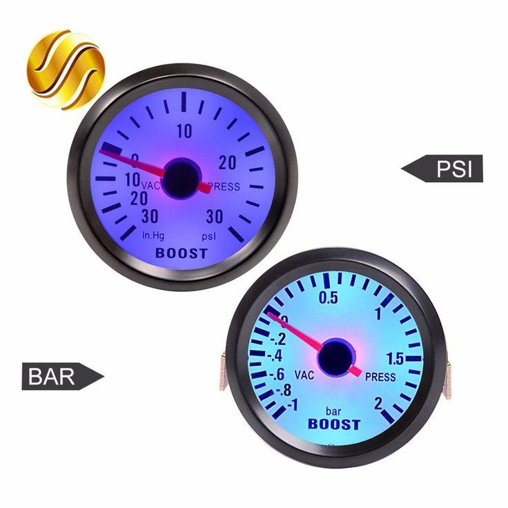 "[Visit to Buy] Car Gauge 2"" 52mm Bar Turbo Boost Gauge -1~2 Bar / -30~30 PSI Vacuum Press Meter for Auto Blue Light Black Rim Shell 12V #Advertisement"