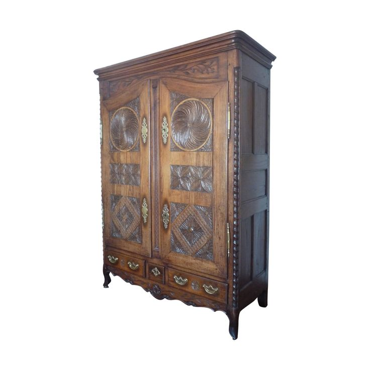 Buy it now: LARGE 18TH CENTURY CARVED OAK FRENCH ARMOIRE #Layer  Armoire feature on the blog now! https://layerhome.com/find-your-knight-in-shining-armoire/