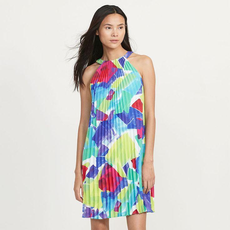 Ralph Lauren Women's Sleeveless Pleated A-line Trapeze Dress Turquoise Pink 10 #RalphLauren #ALineDress #AnyOccasion