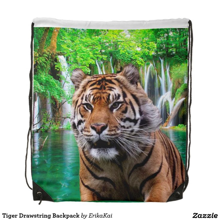 """Tiger and Waterfall Drawstring Backpack. 100% polyester. Dimensions: 14.75"""" x 17.3""""."""