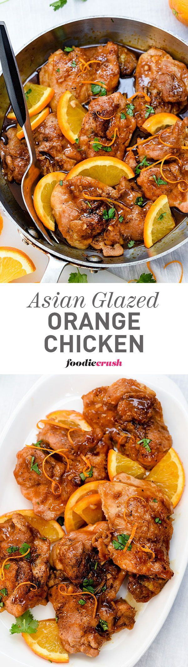 The ying and yang of this sweet and spicy orange sauce with ginger and garlic dresses up juicy chicken thighs for a fast and easy dinner | http://foodiecrush.com