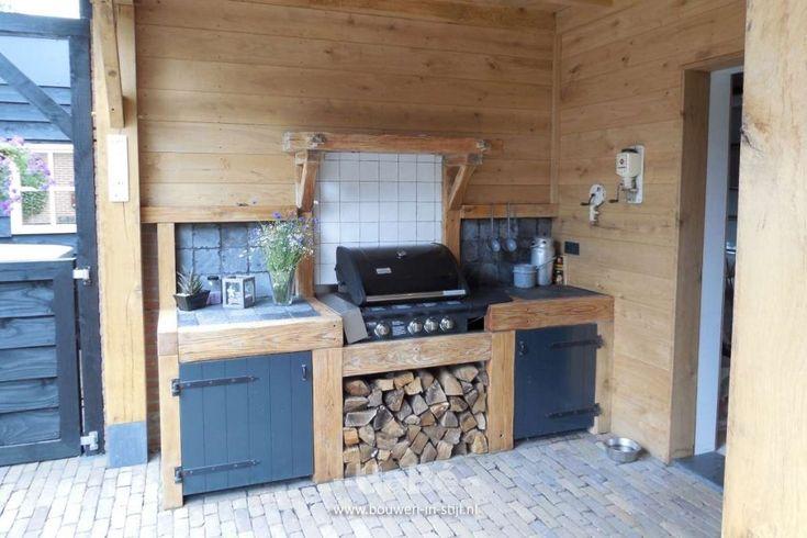 Eiken veranda met stalen taatsdeuren - buitenkeuken