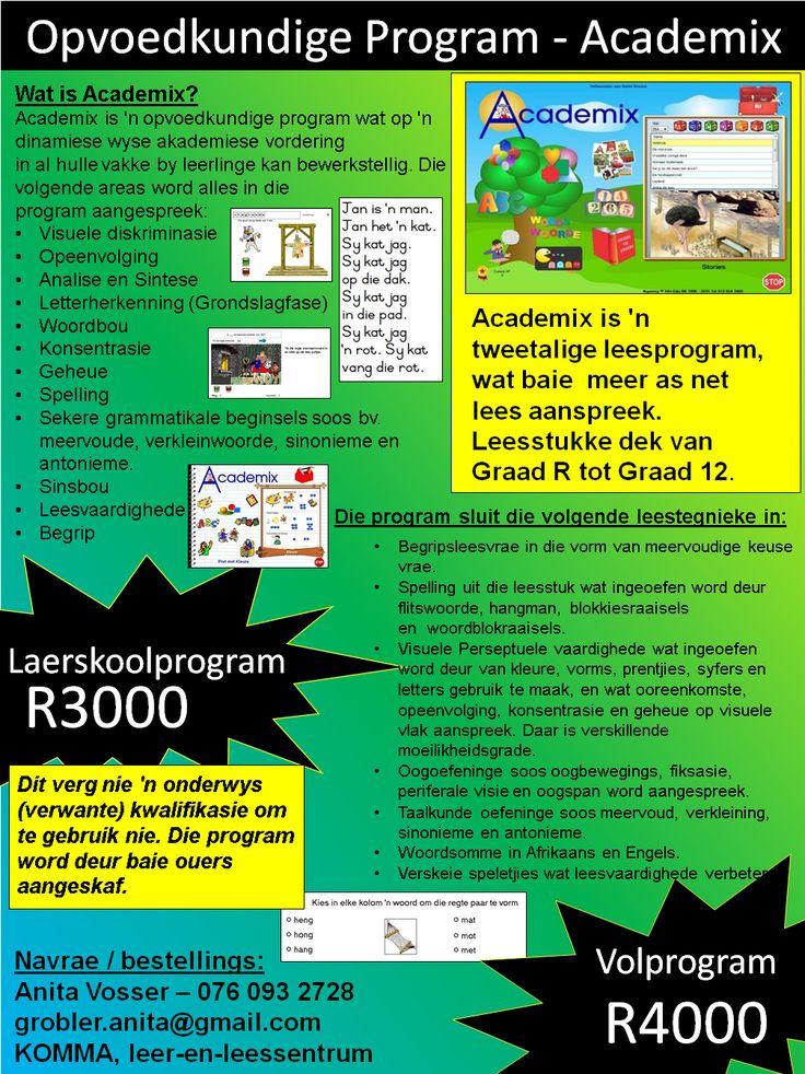 Academix is 'n tweetalige leesprogram, wat baie meer as net lees aanspreek. Leesstukkedek van GraadR tot Graad12.