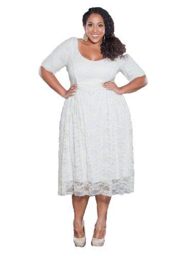 Sealed With A Kiss Designs Plus Size Kara Lace Dress in White - Size 1X, Whiteonwhite