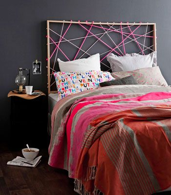 Real Living Mag April 2012 - DIY Bedhead Ideas Fluoro Rope Geometric Art (photography: maree homer, styling/project: erin michael) How to: http://homes.ninemsn.com.au/diy/craftprojects/8435095/rope-design-bedhead