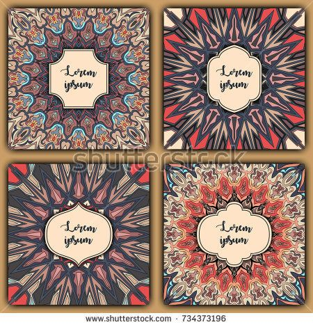 Set of mandala background cards. Vintage elements. Vector decorative retro greeting card or invitation design.