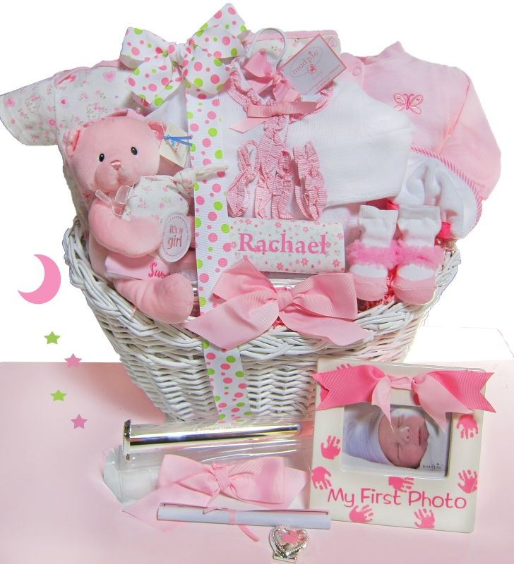 Elegant Beginnings Luxury Personalized Baby Gift Basket