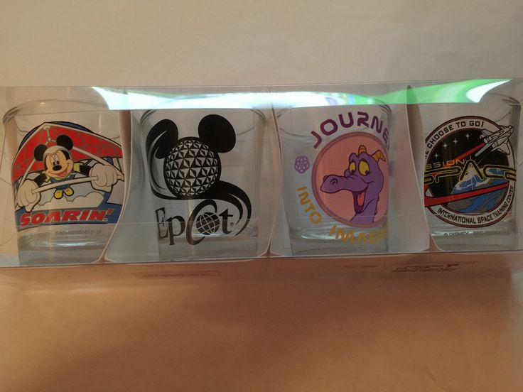 Disney Parks Epcot Soarin Figment Glass Shot Glass Set of 4 New with Box