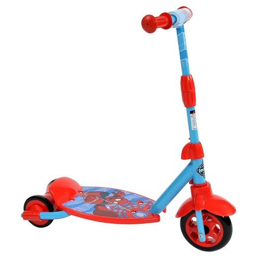 The Marvel Spider-Man 3-2-GROW scooter from Huffy doubles the web of fun! The Huffy scooter easily converts from a 3-wheel scooter to an easy-balance 2-wheel scooter. The wheels are specially designed to help the child transition from of a 3-wheel scooter to an easy-balance 2-wheel scooter, with a wide rear wheel surface for added stability. It's easy to change the scooter as the child grows and becomes a more confident rider. No tools are needed! Adjusting the scooter to fit the gr...