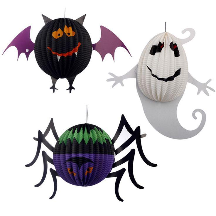 Купить товар3 размер / комплект хэллоуин украшения реквизит трехмерный сферические прихоть призрак летучие мыши паук висит кулон фонарь фонари в категории События и праздничные атрибутына AliExpress.                             Название: трехмерная маленькие фонарики