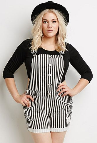 Striped Overall Shorts | Forever 21 PLUS - 2000097370
