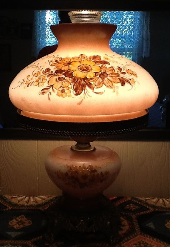 Lamp Light Hand Painted Old Lamp Globes | Large Vintage Hand Painted