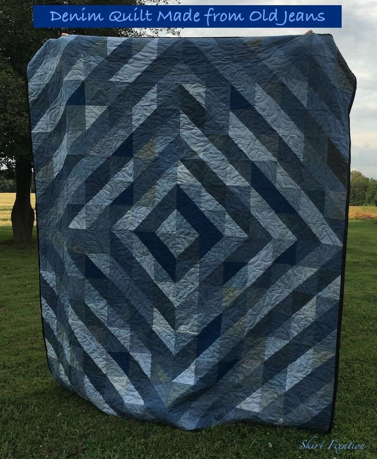 Denim quilt made by Skirt Fixation from old jeans - tutorial