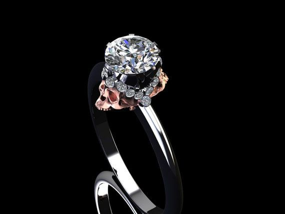 Diamond Crown Skull Engagement ring Two Tone by adamfosterjewelry
