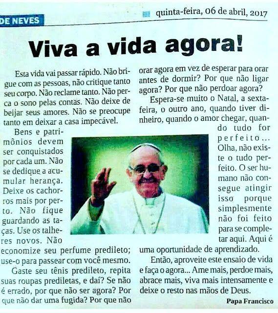 Fica Cãomigo: Linda mensagem do Papa Francisco - faz jus ao nome...