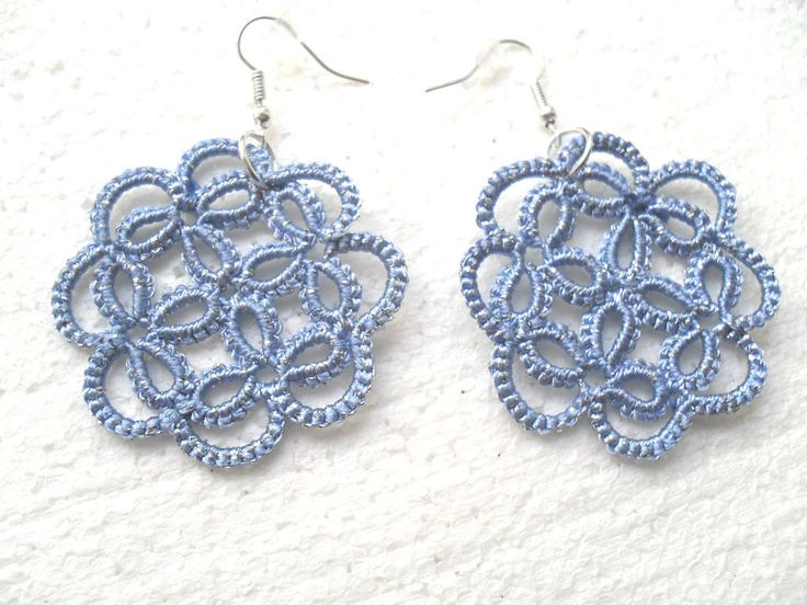 Handmade tatted blue earrings made of cotton thread , lace  tatted earrings, tatting earrings by carmentatting on Etsy