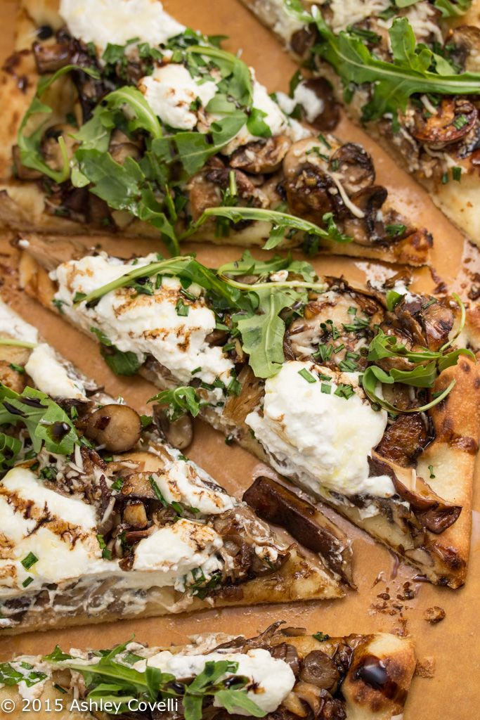 Garlicky Mushroom Ricotta Pizza with Wild Arugula + Aged Balsamic: Sautéed mushrooms are topped with ricotta and Parmesan cheeses and baked into a store-bought pizza crust for an easy, elegant weeknight meal! #recipe